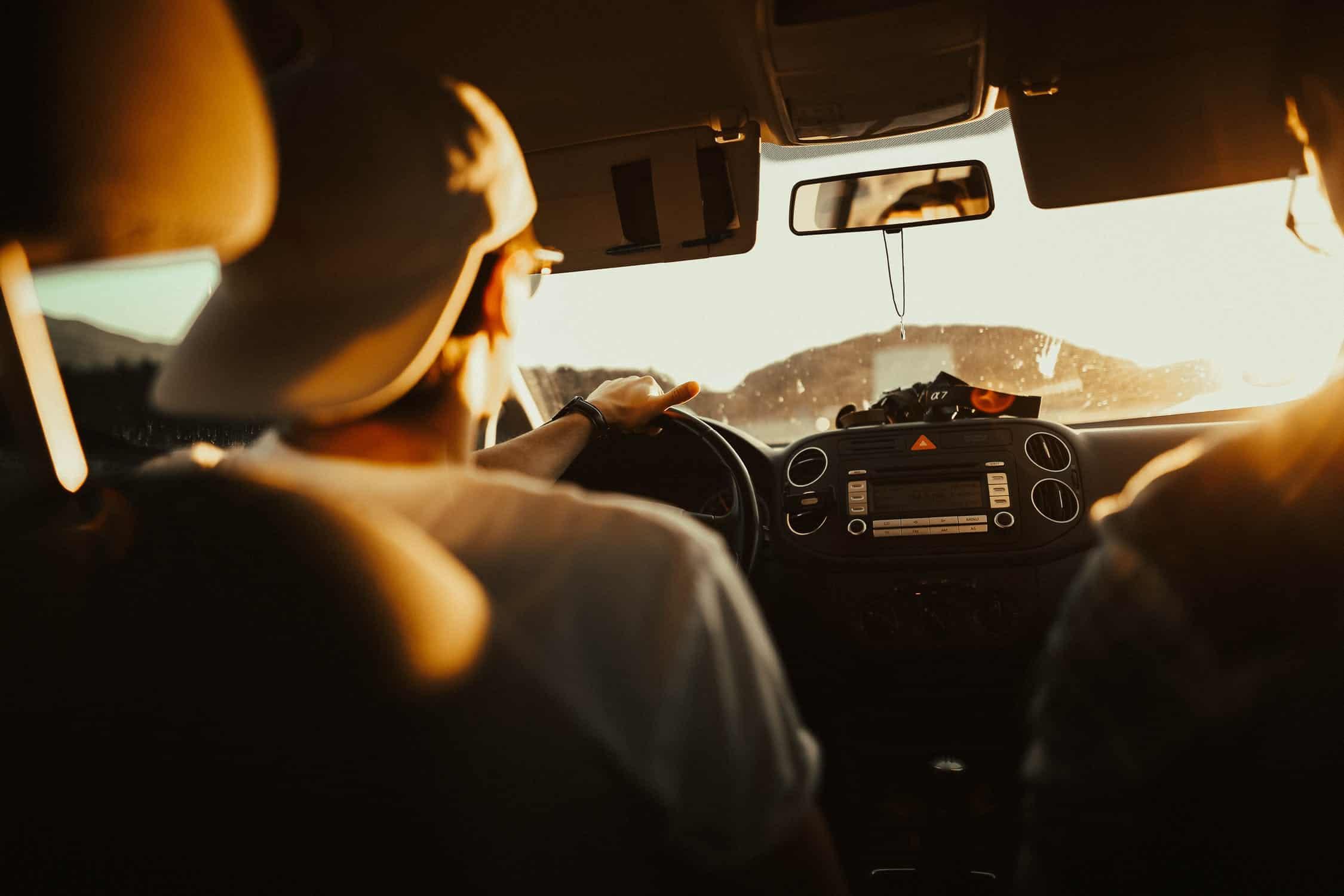 Man driving car navigation