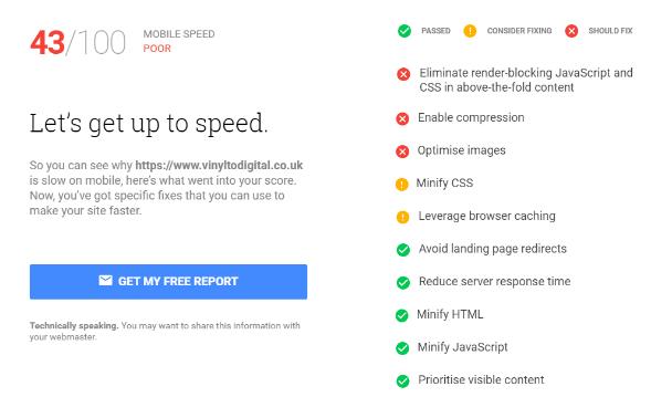 speed testing screenshot