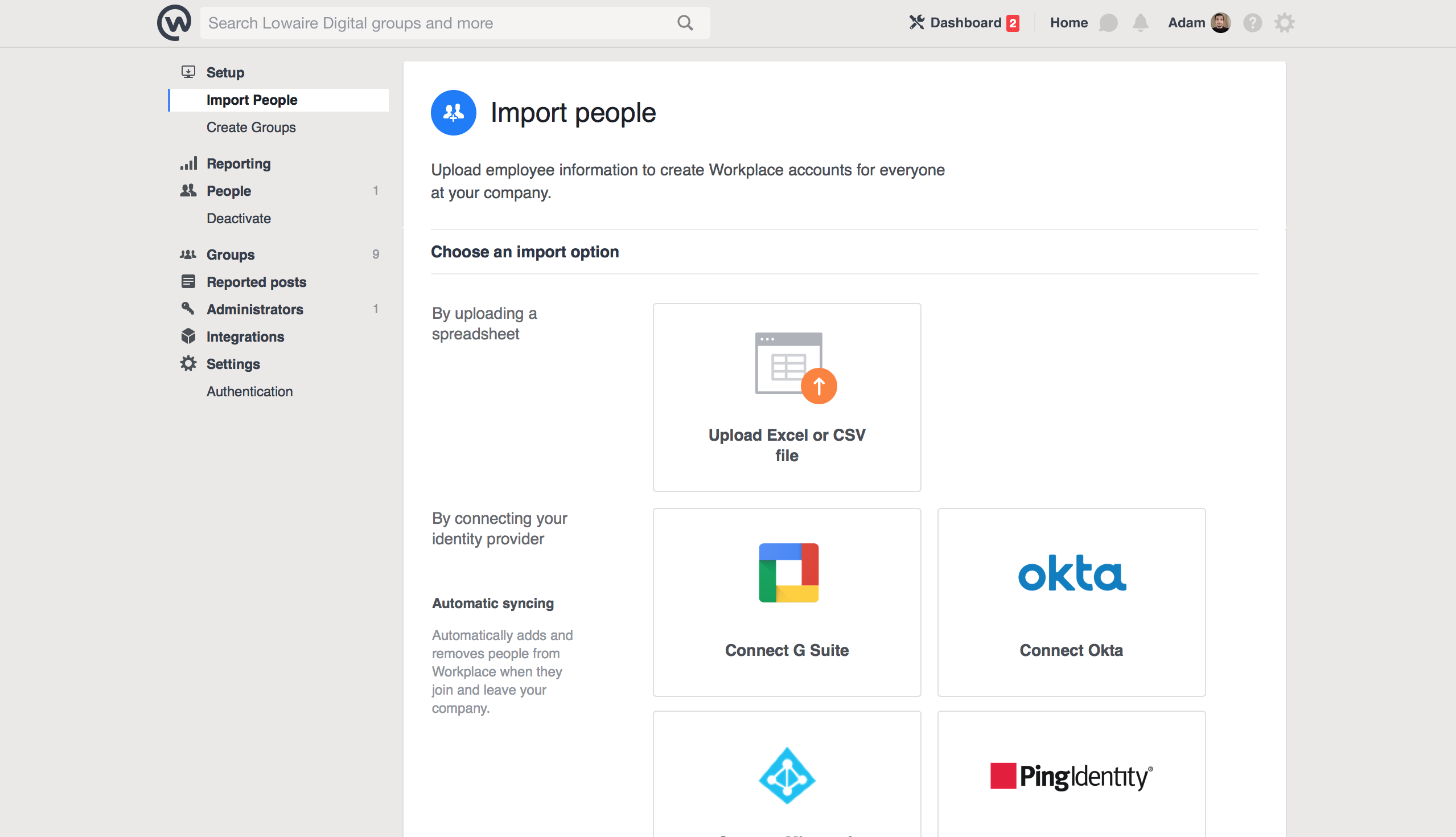 Facebook Workplace Importer Screen