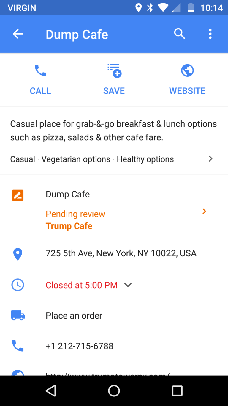 dump cafe mobile screen