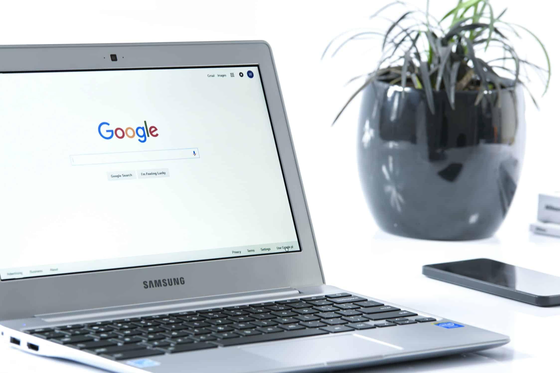 laptop with google icon