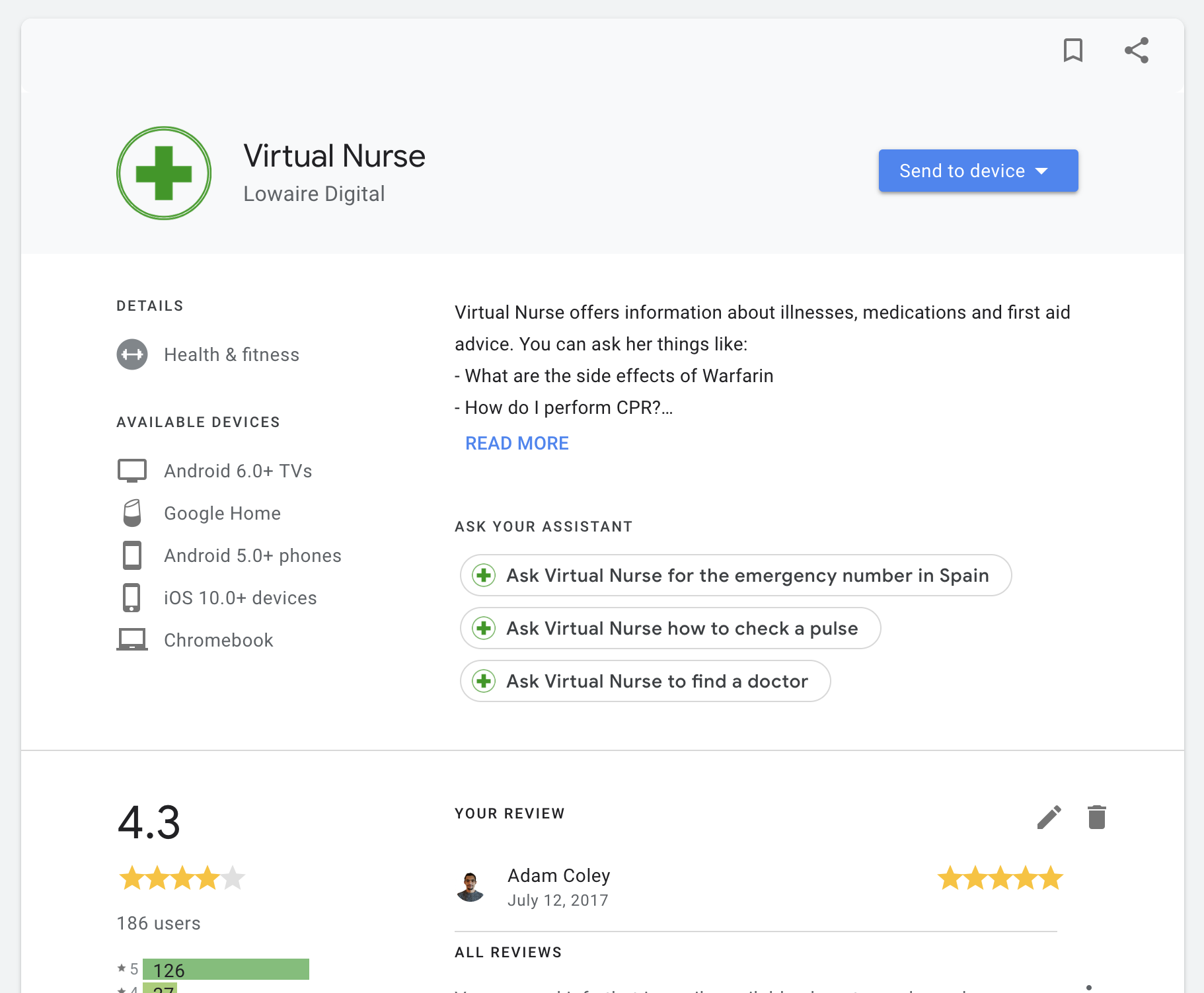 virtual nurse app on google home