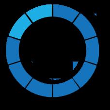 partial percentage circle in dark blue