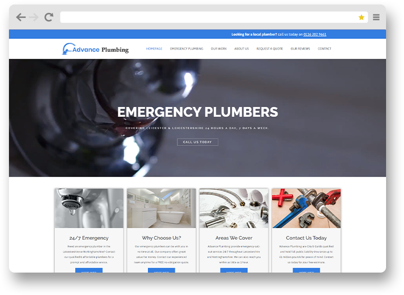 Advance plumbing website design portfolio