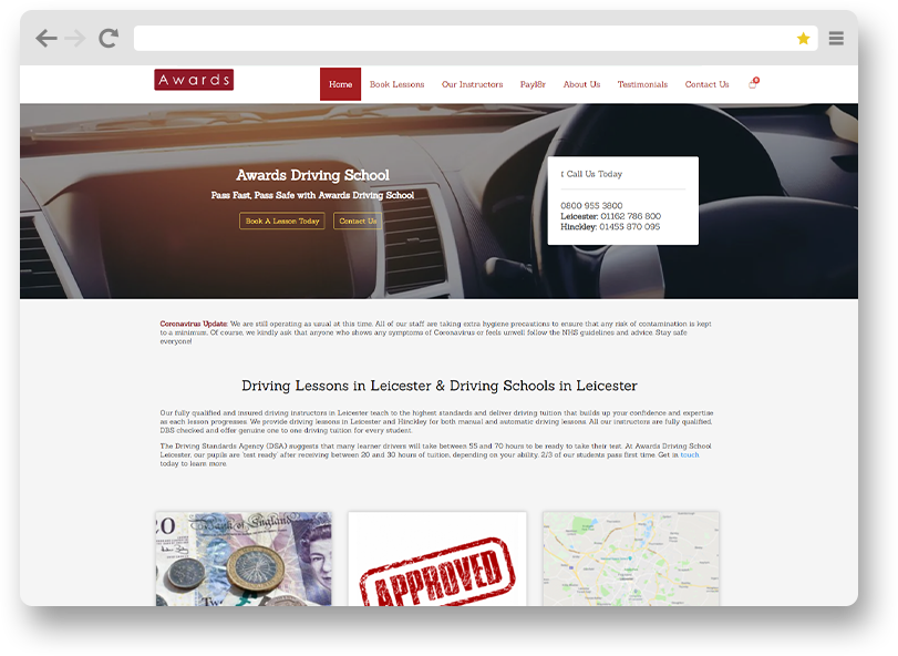 Awards driving school website design portfolio