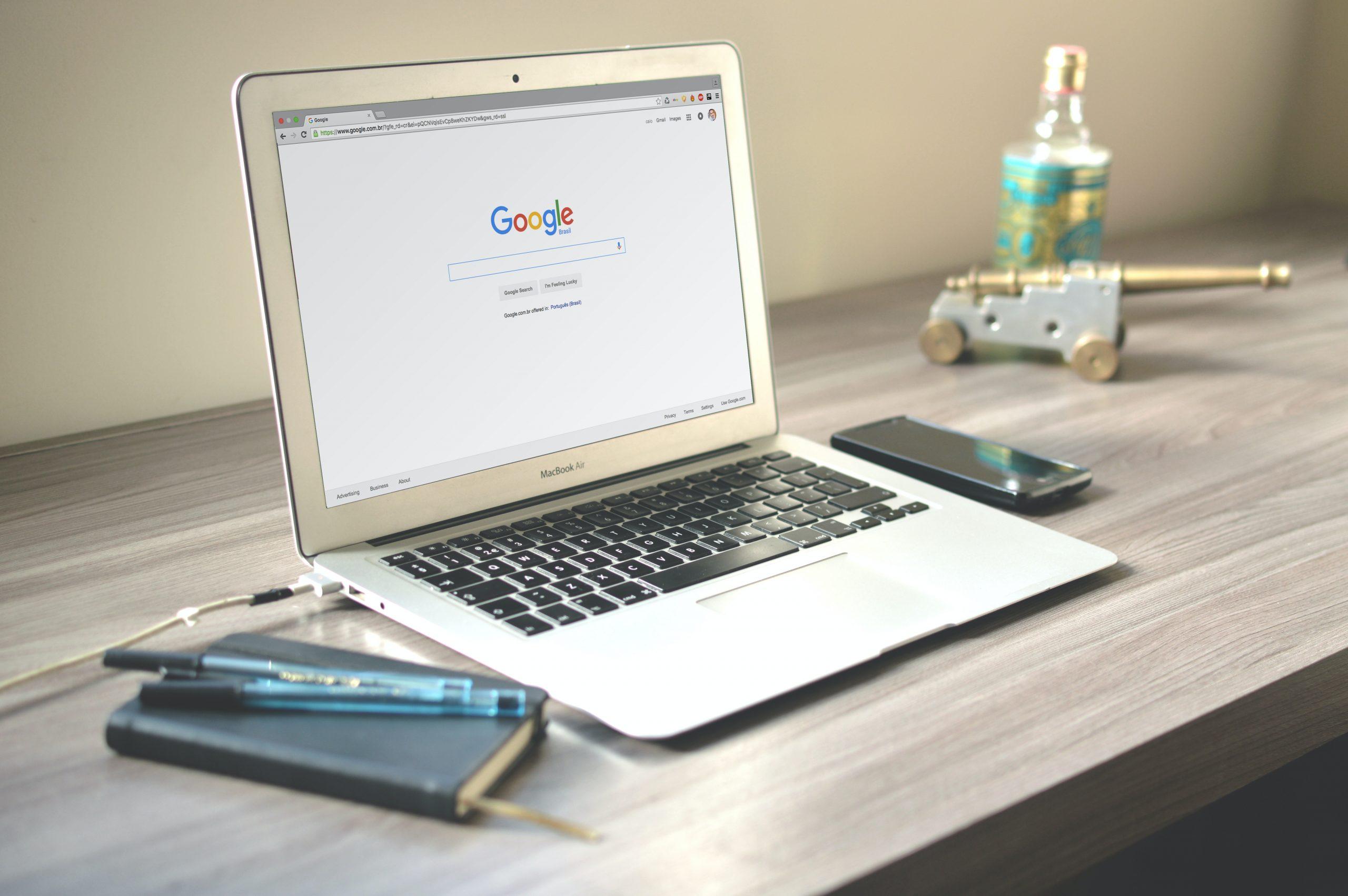 laptop with google logo