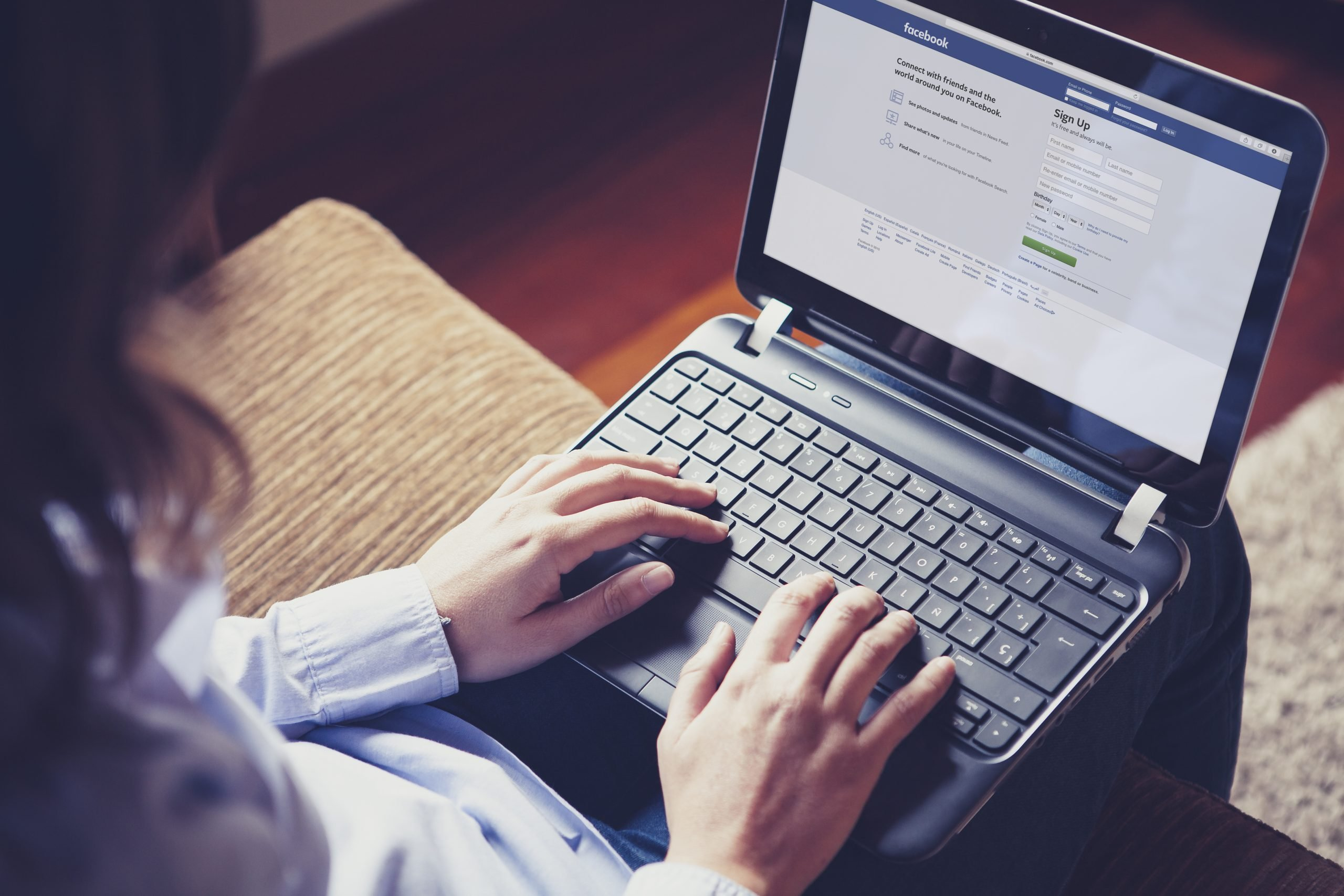 Woman Using Facebook