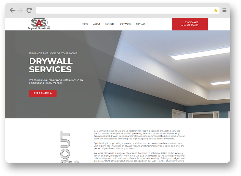 sas drywall solutions website design project