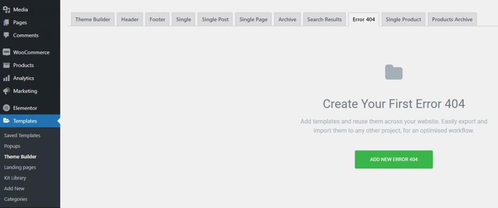 Elementor website designer 404 page
