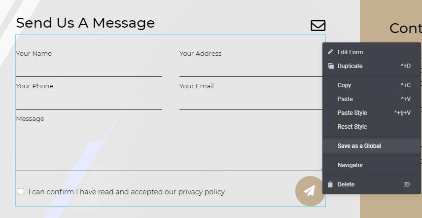 Elementor website designer contact form widget