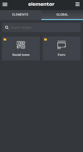 Elementor global widgets panel
